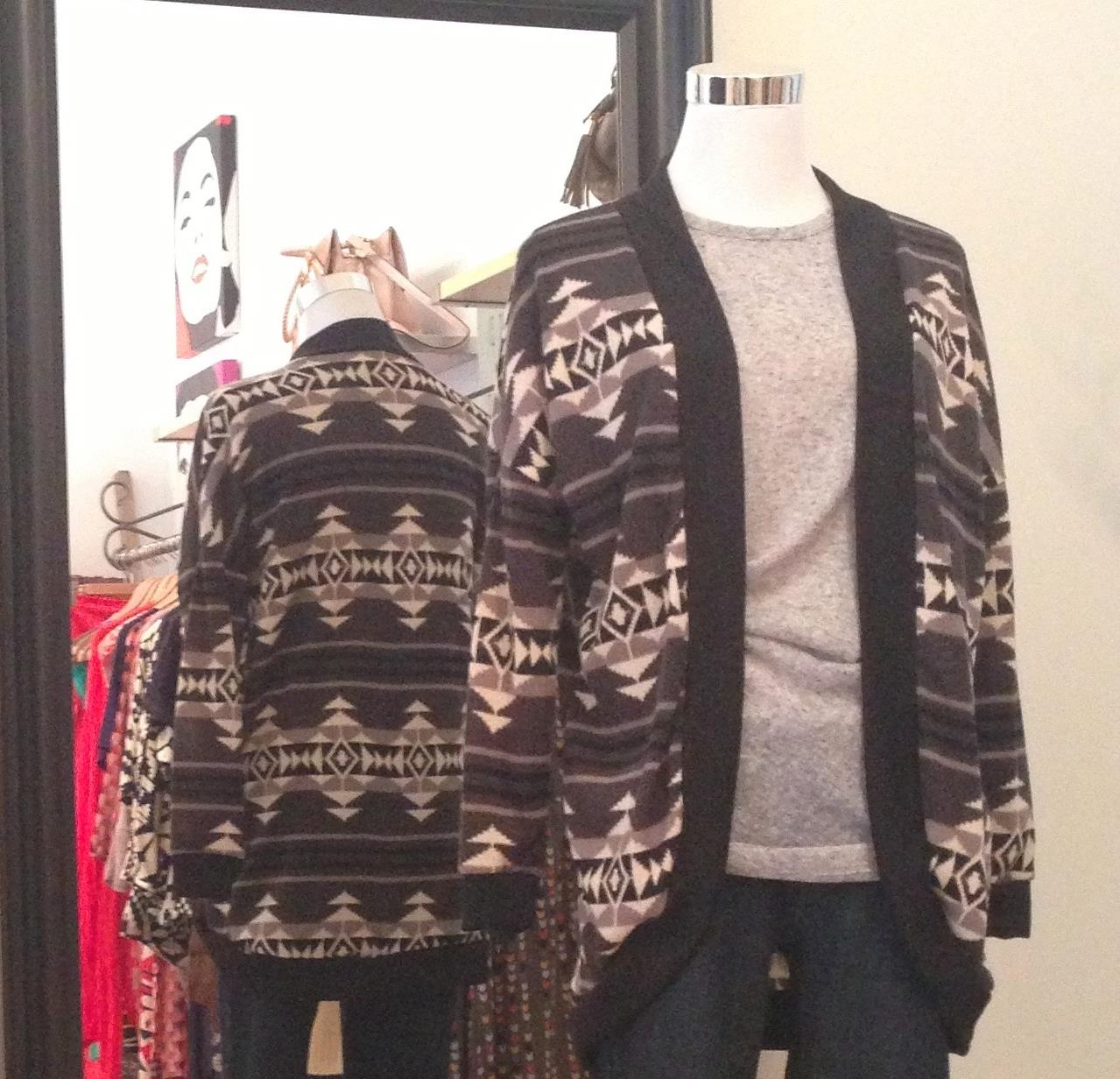 Black and grey tribal print open print sweater