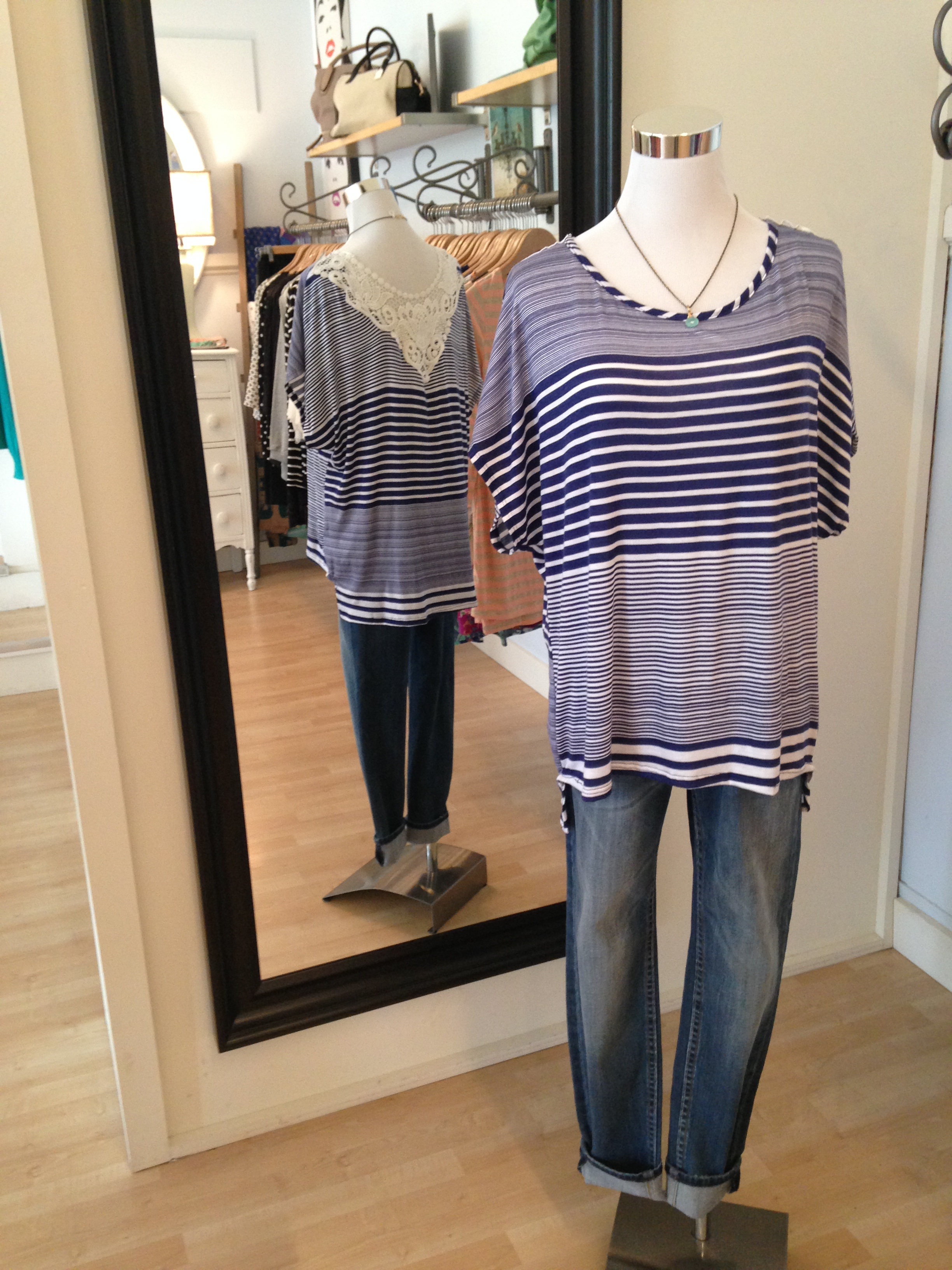 Blue striped shirt with crochet back