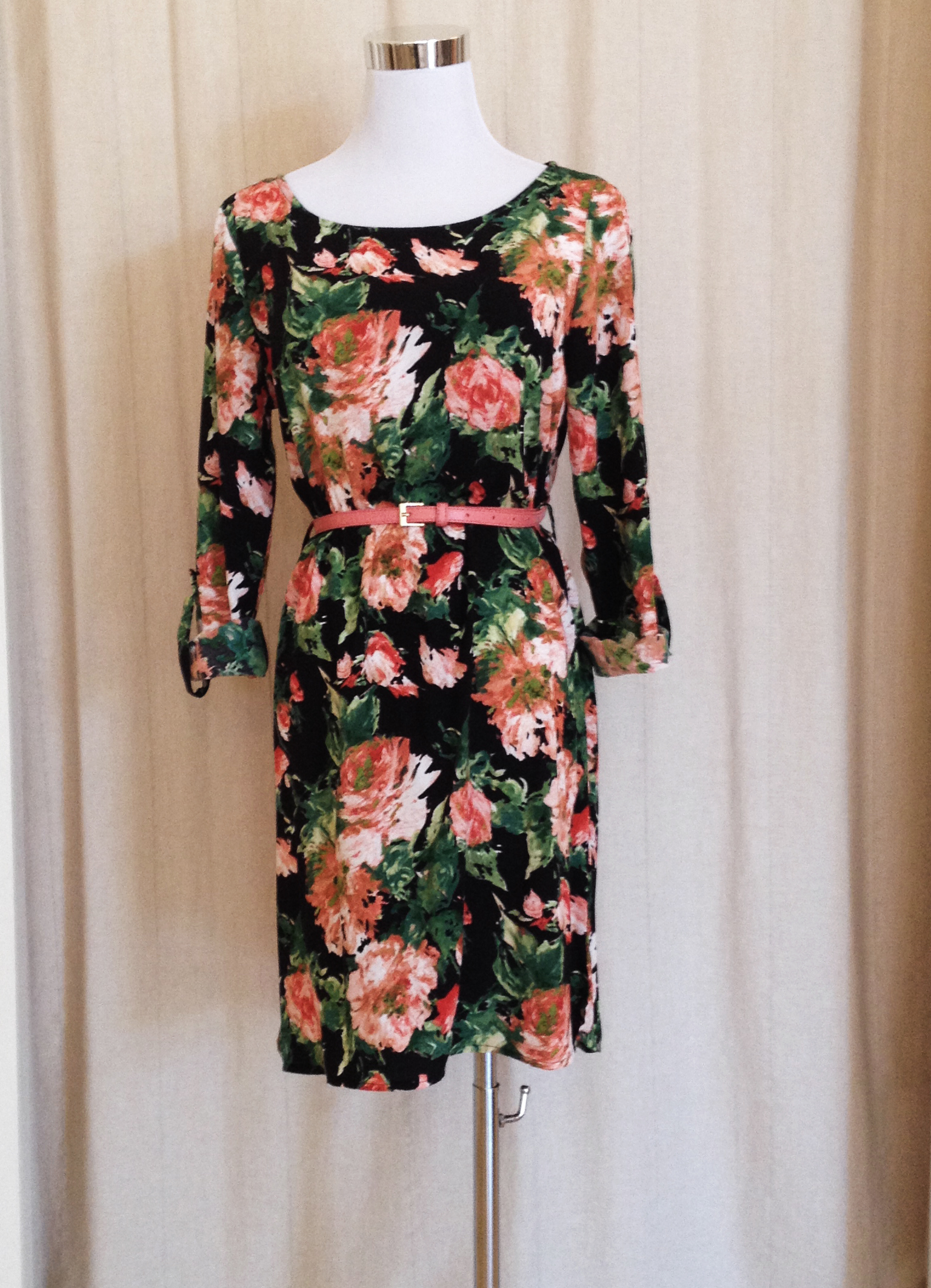 Rose Print Dress with 3/4 Sleeves and Pink Belt
