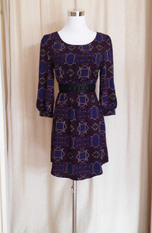 Purple Print Shift Dress