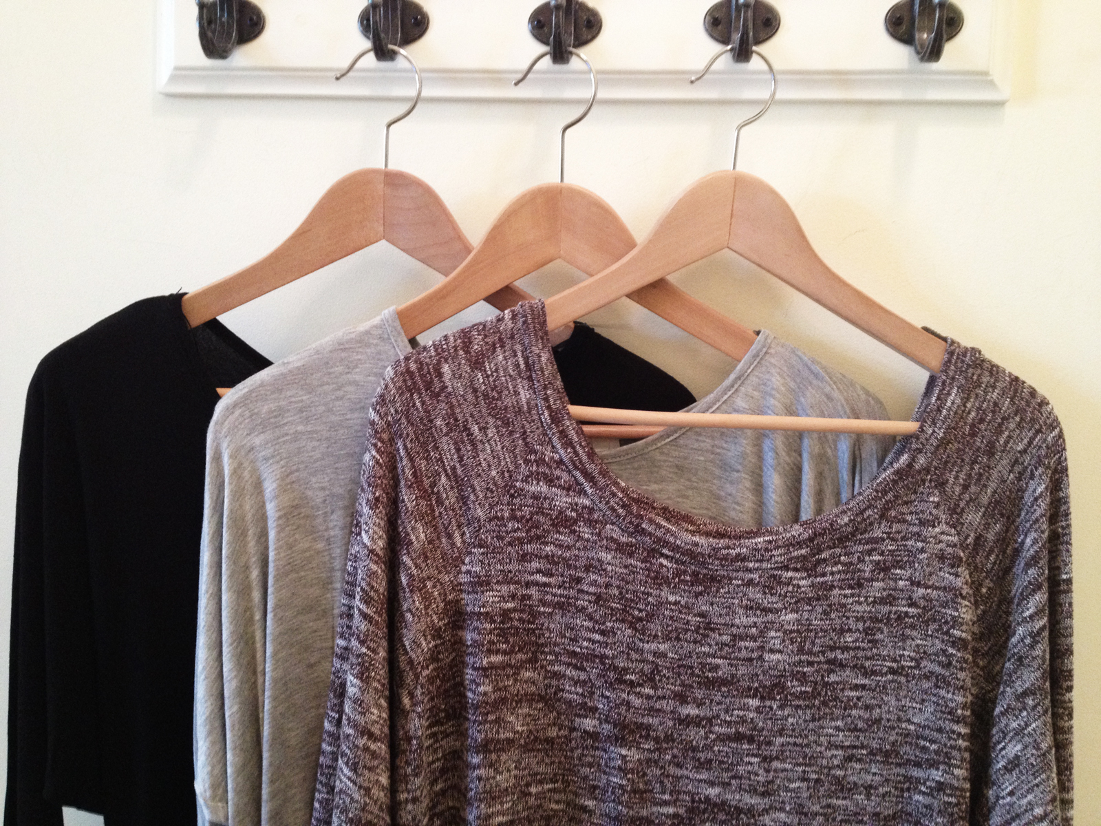 Black Dolman Sleeve Knit Dress, Heather Gray Tunic, and Heather Brown Knit Top.