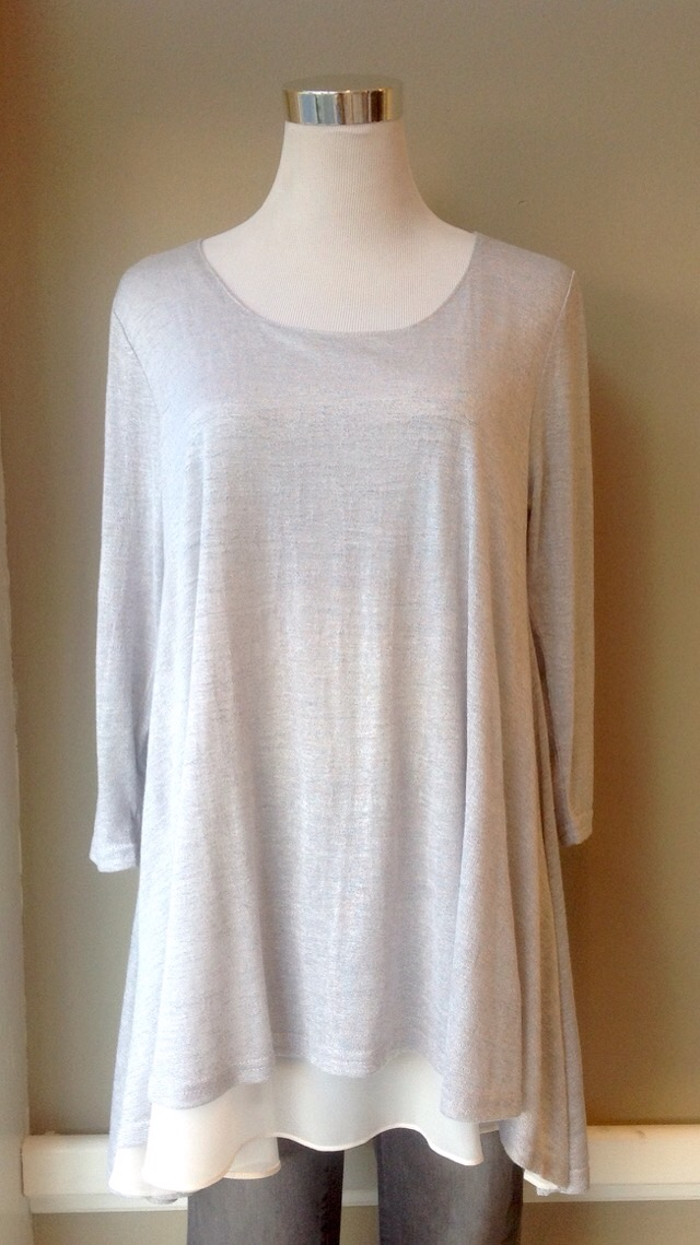 Layered lightweight tunic top in Heather Grey/Ivory, $35