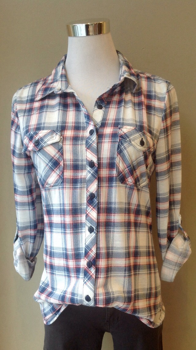 Lightweight plaid shirt in Denim Blue/Off-White/Pink, $34