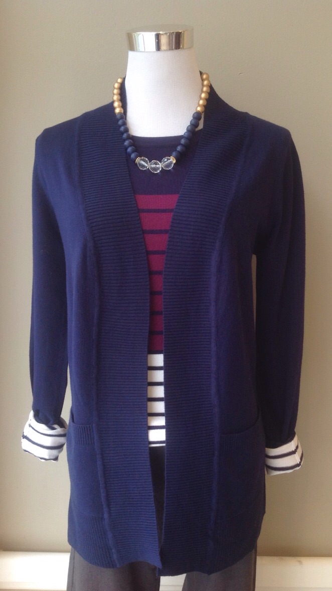 Navy open front knit cardigan with patch pockets, $35