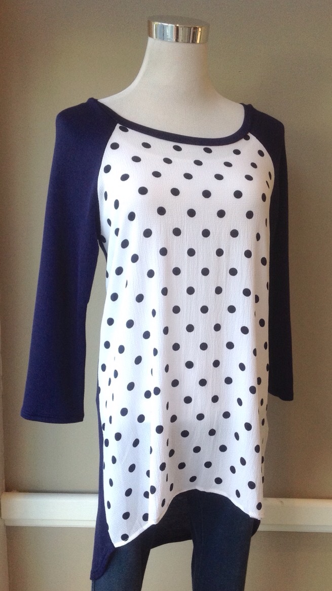 Navy/White tunic top with Black polka dots and high-low hem, $34