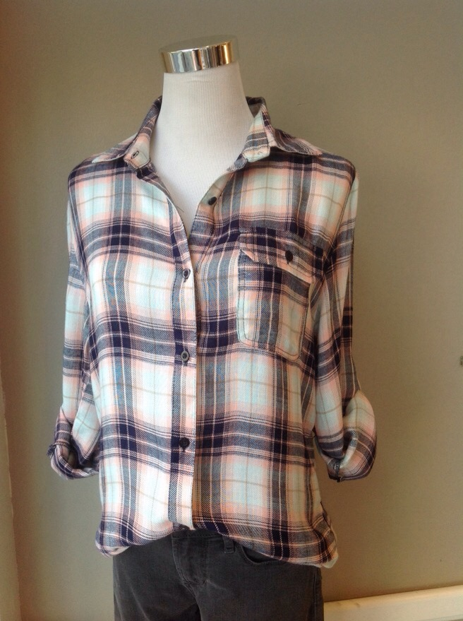 Cotton plaid shirt in Blue/Pink, $38