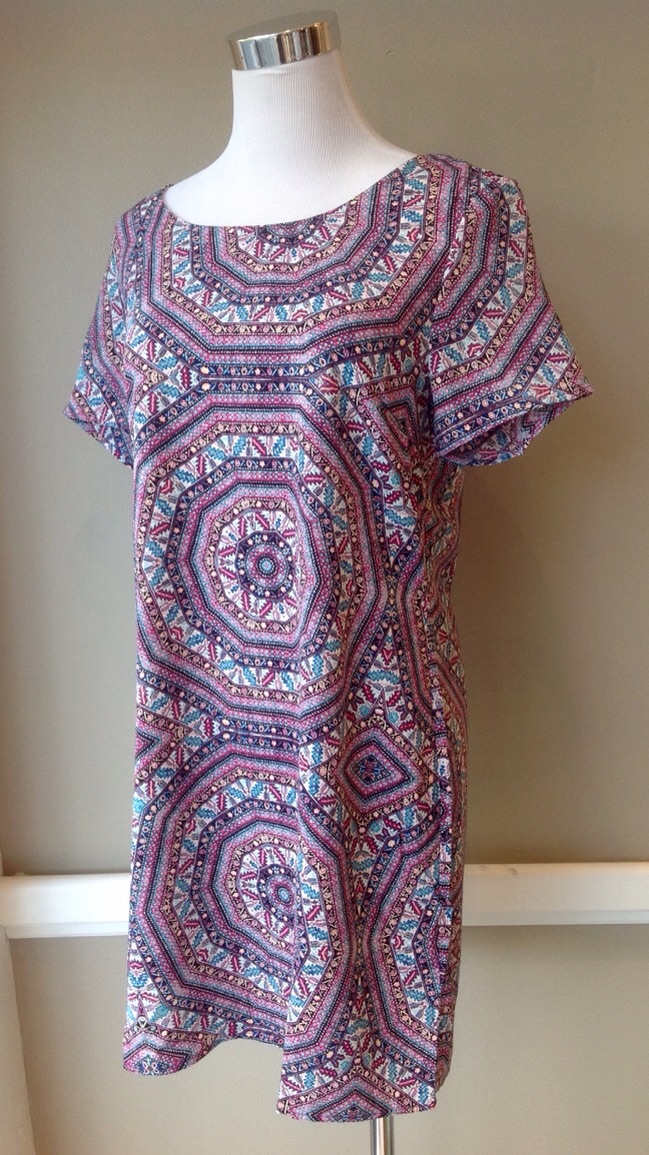 Geo print shift dress in Magenta, $38