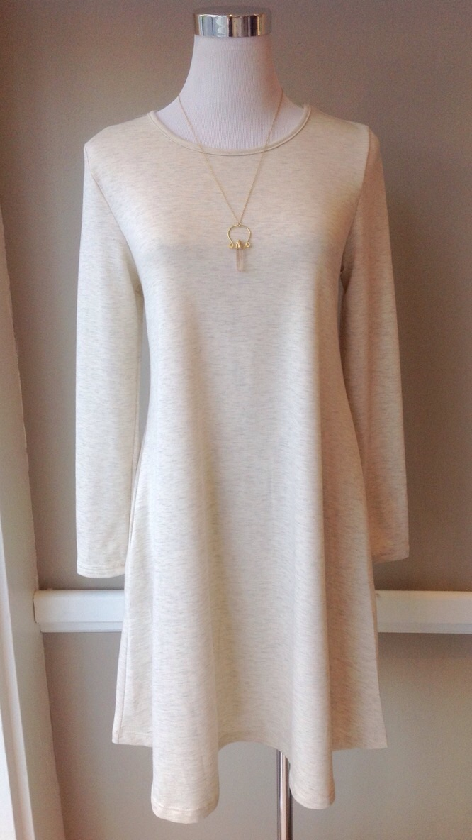 French terry knit dress with side seam pockets in Oatmeal, $35