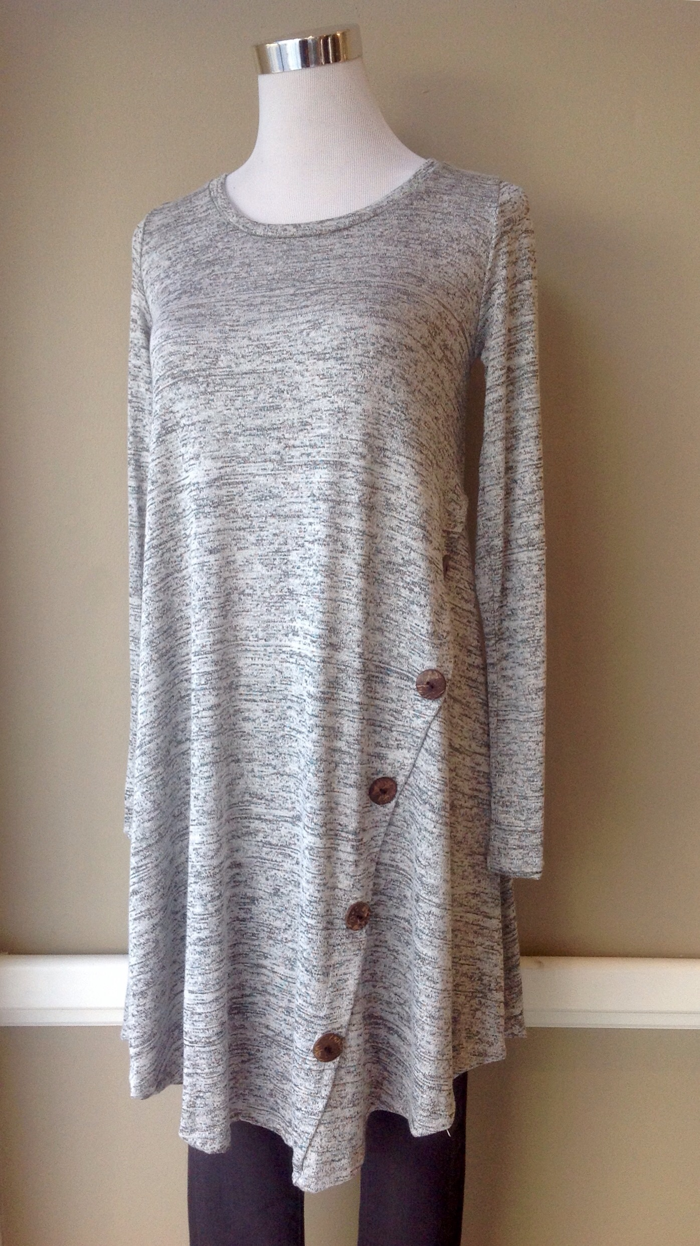 Heather Grey tunic dress with button detail, $35
