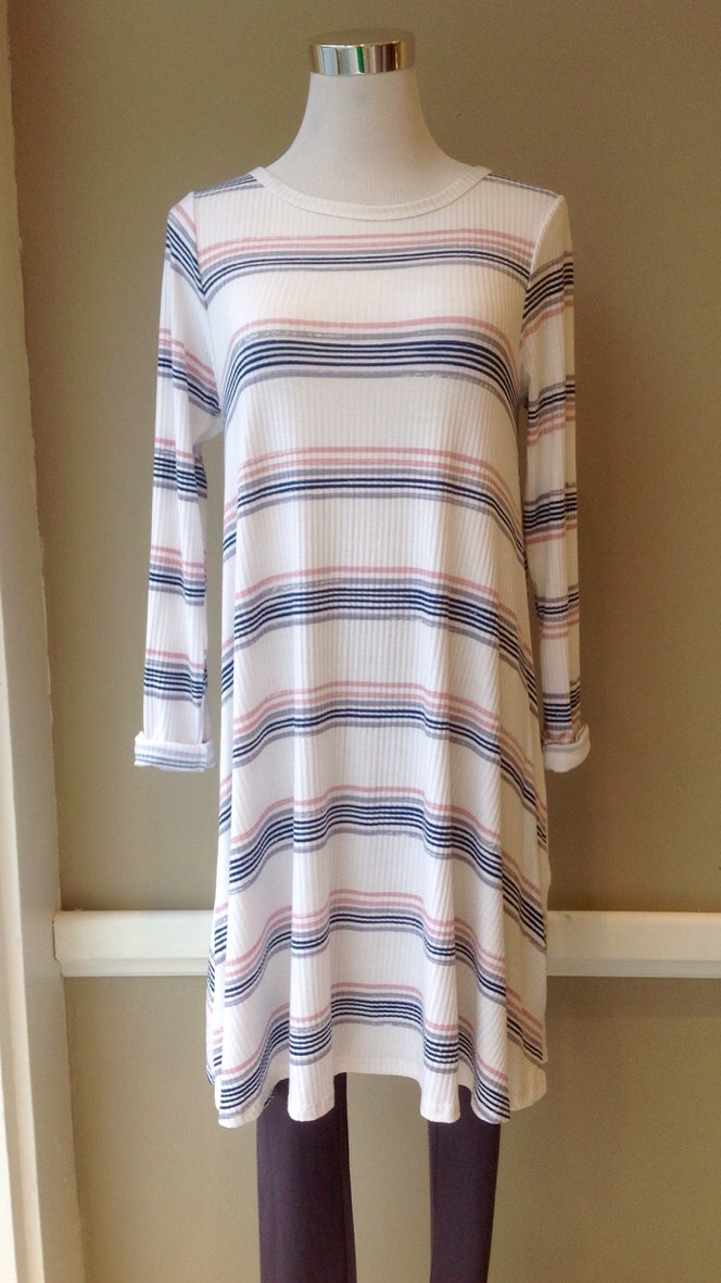 Ribbed A-Line dress with side pockets in Cream with Navy/Pink/Grey stripes, $38