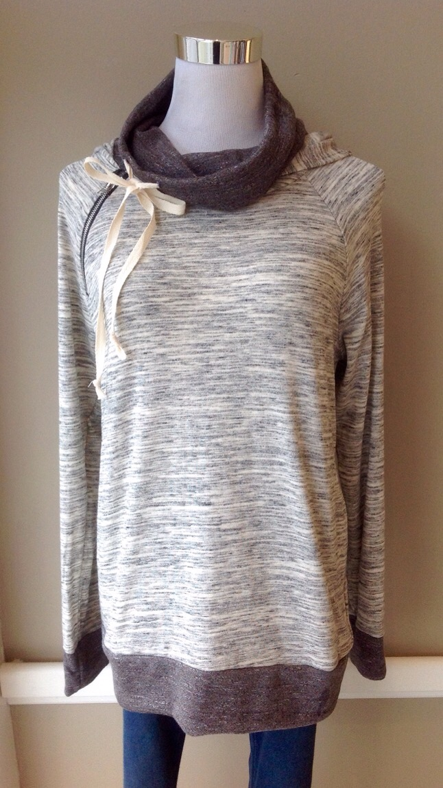 Cowl hoodie with side zip and tie in Heather Grey, $38