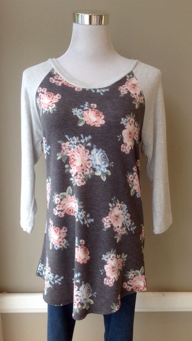 Ultra soft rose print bseball top in Grey/Pink/Blue, $34