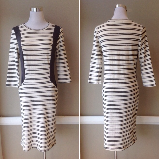 Solid and stripe knit dress with front pockets in Ivory/Grey, $35