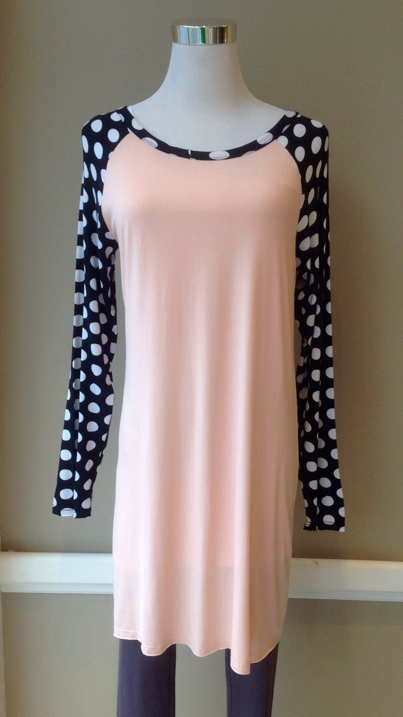 French terry baseball tunic dress in Black/White/Pink, $32