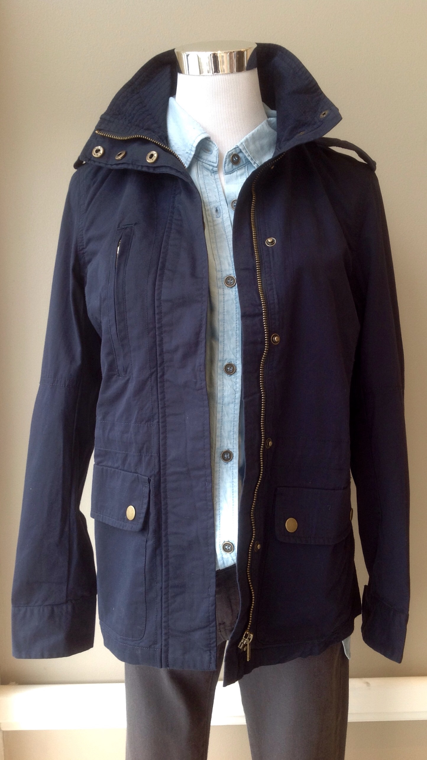 Cotton field jacket in Navy, $45
