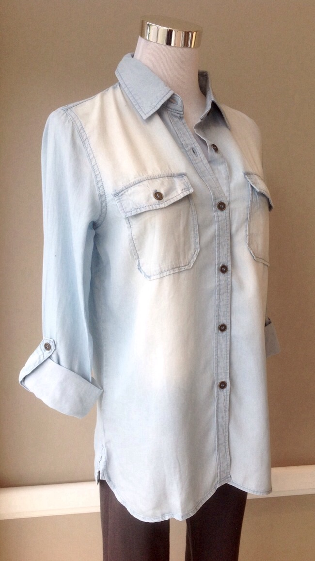 Tencel chambray button-down in Light Blue, $34