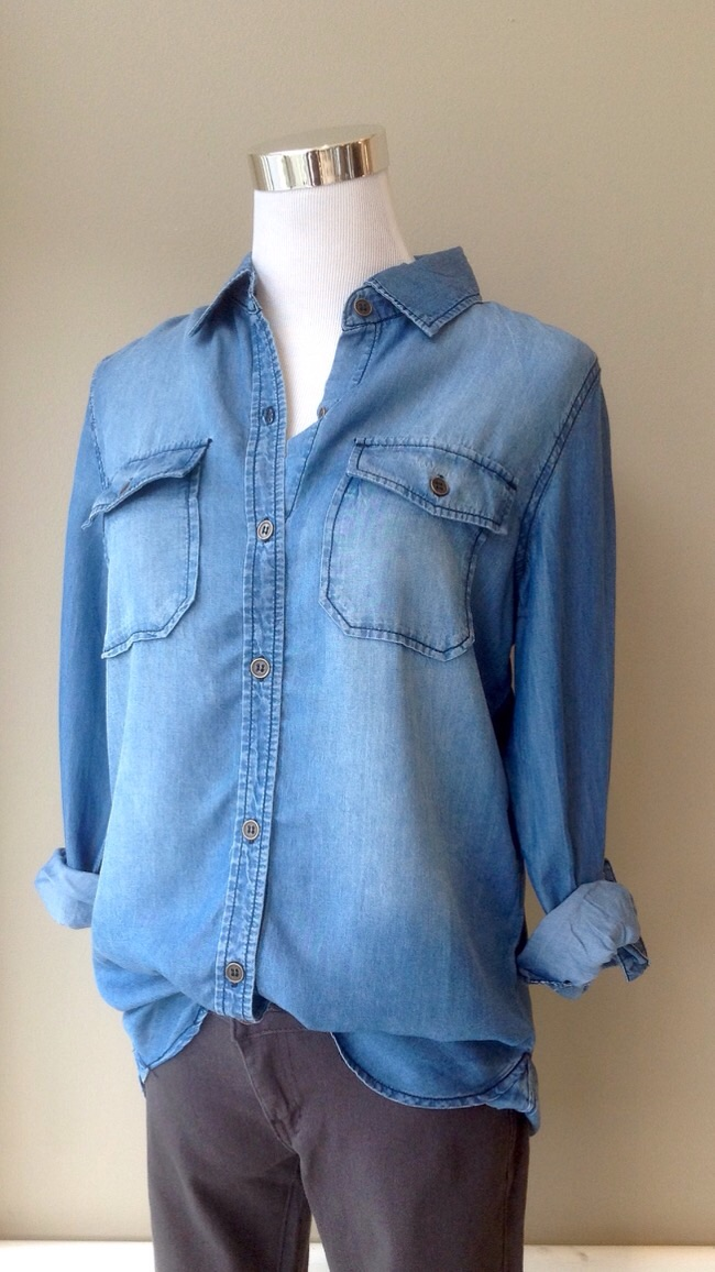 Tencel chambray button-down in Denim Blue, $34