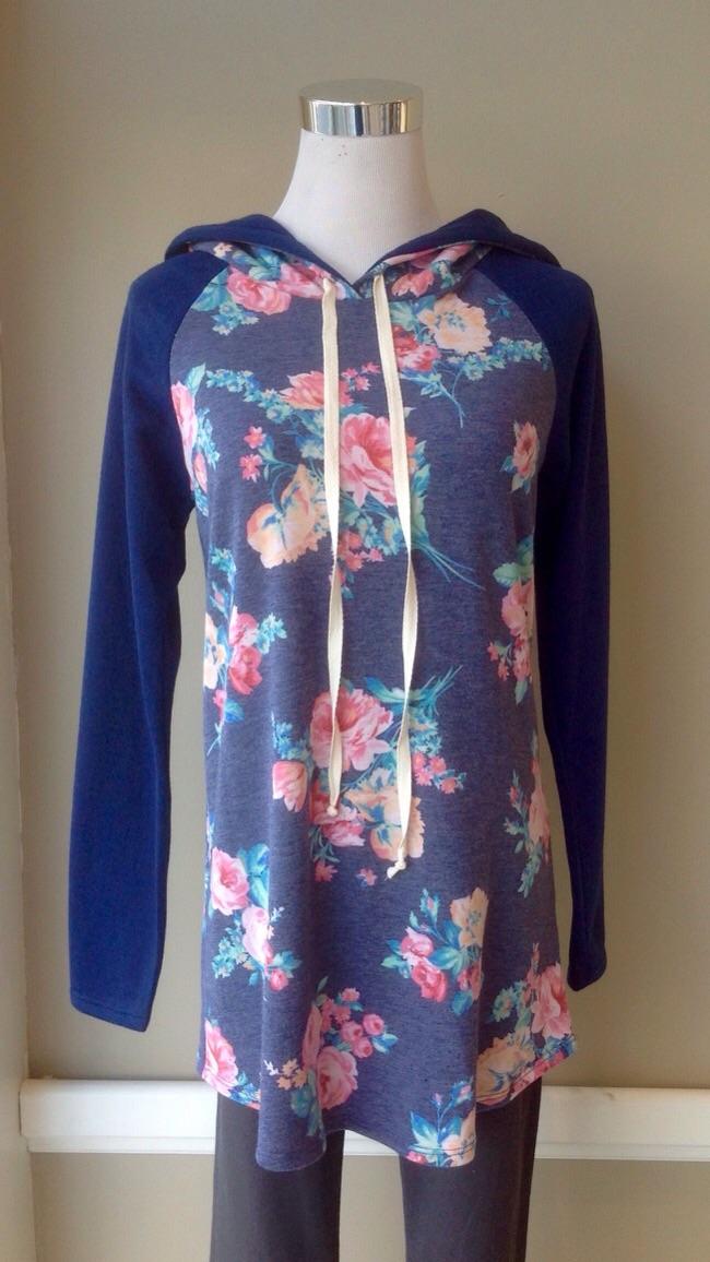 Ultra soft floral print hoodie in Navy/Multi, $34
