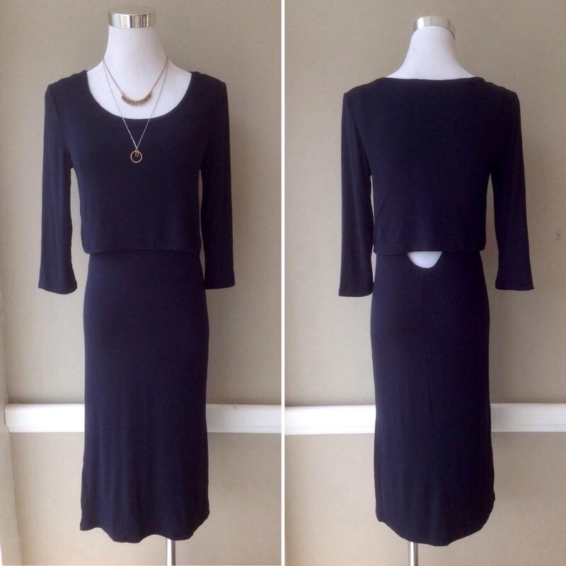 Lightweight layered midi dress in Black, $30