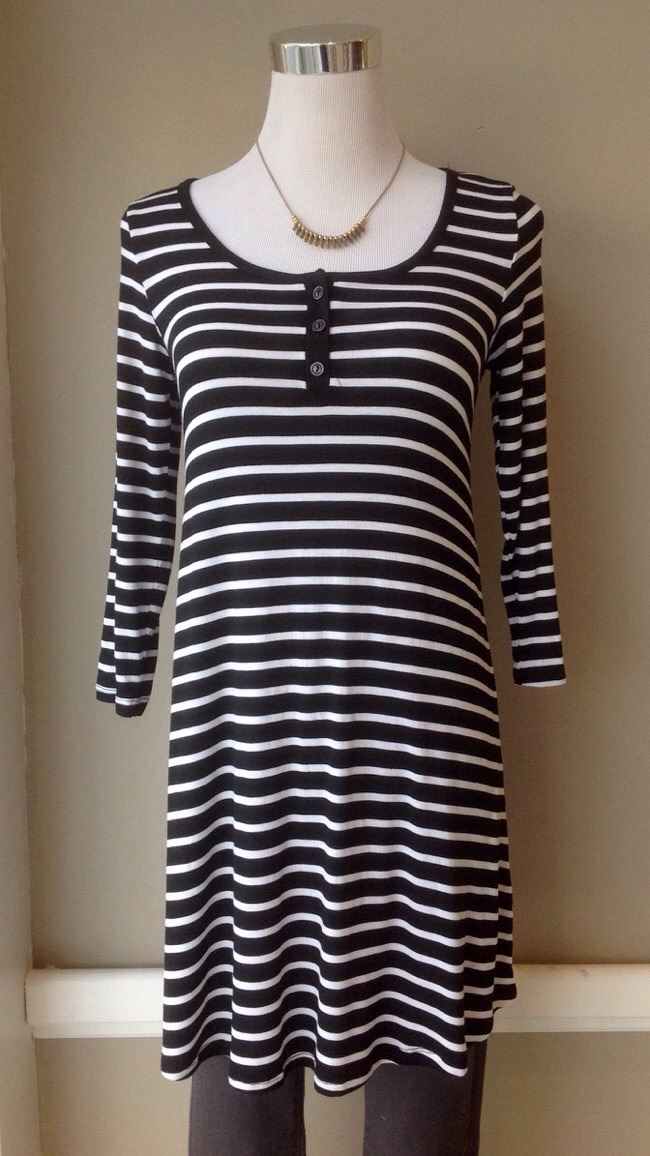 Black and white stripe tunic top with 3/4 sleeves, $28