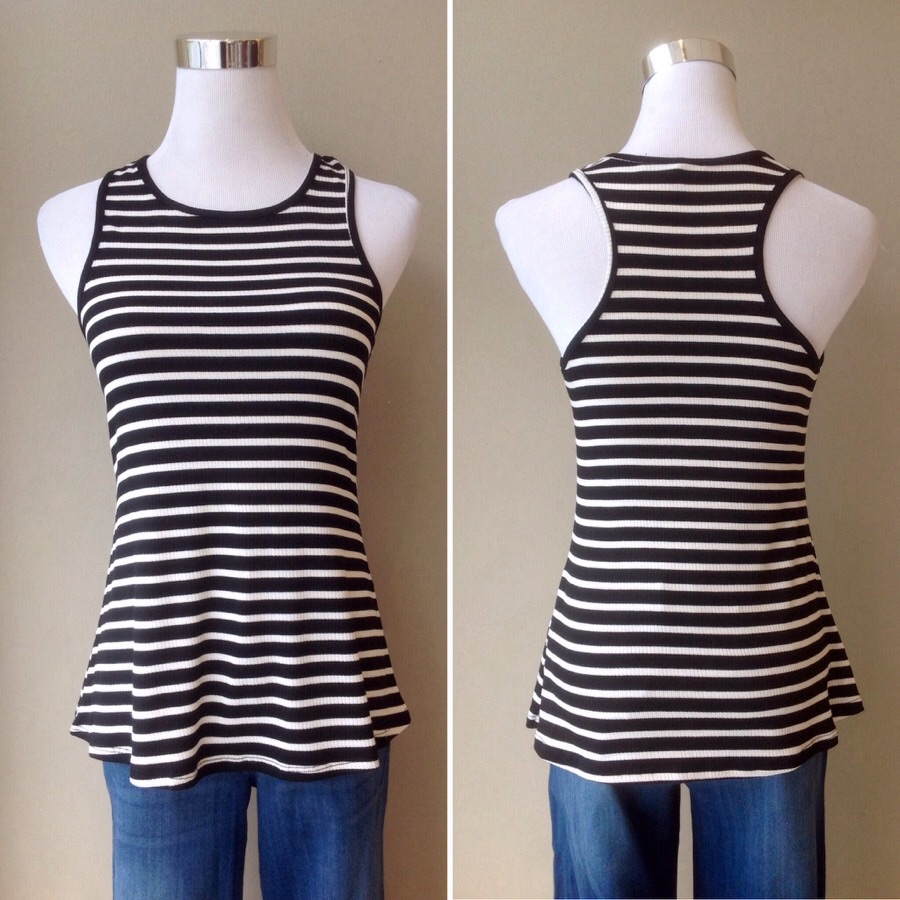 A-line rib knit tank in black/ivory stripe, $24