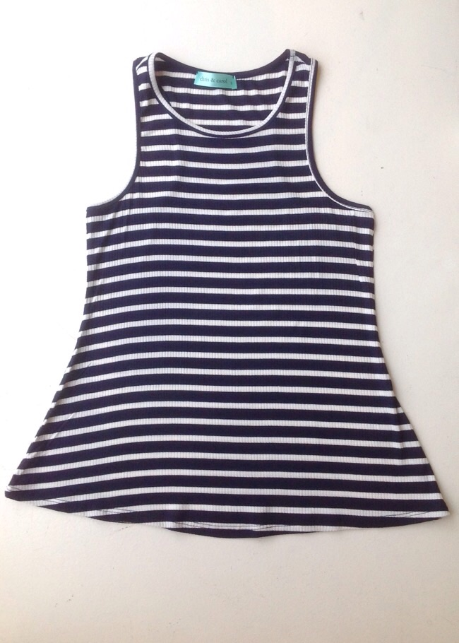 A-line rib knit tank in navy/white stripe, $24