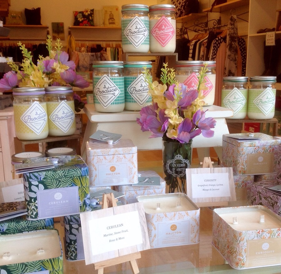 Soy based candles: Produce-inspired jars for $18, and Lulie Wallace printed tins for $21