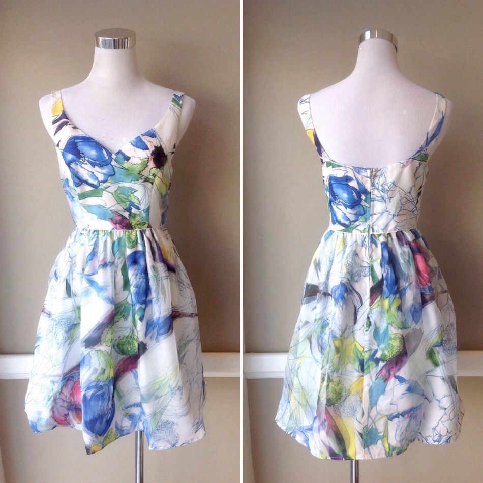 Fully lined poly chiffon party dress in watercolor floral, $52