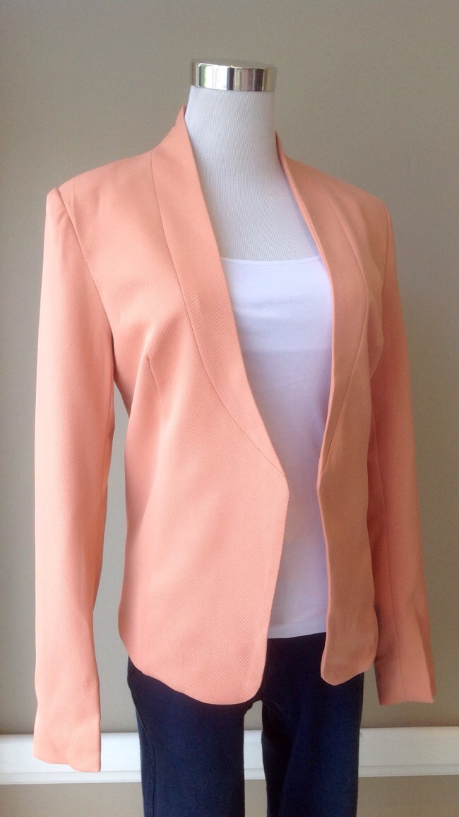 Tailored poly twill blazer in peach, $38