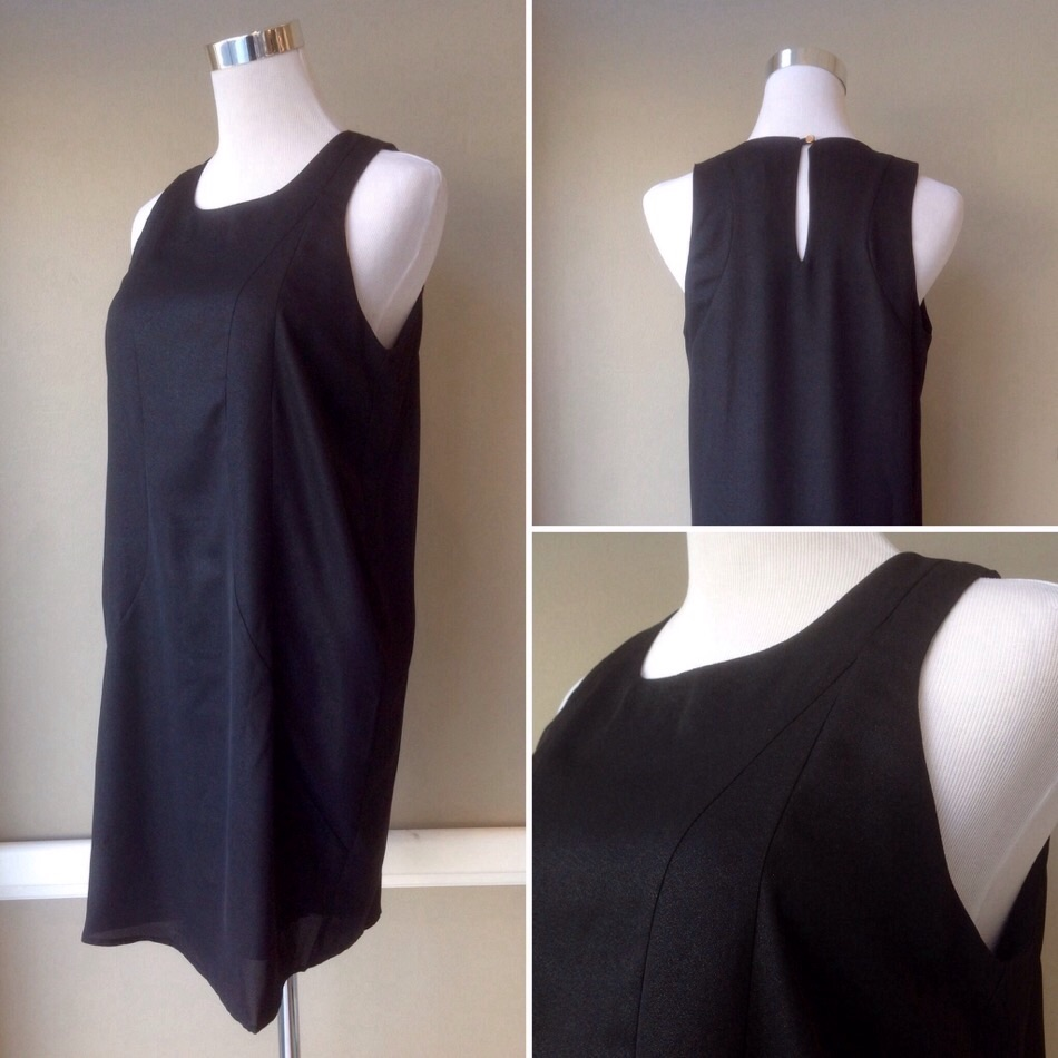 Black shimmer sleeveless tunic dress, $42