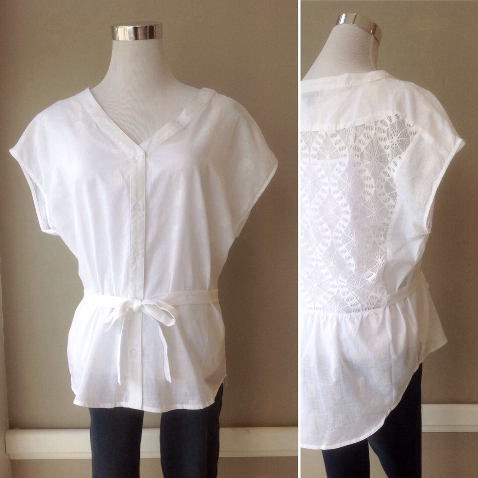 Cotton drop sleeve blouse with back lace detail and waist tie, $32