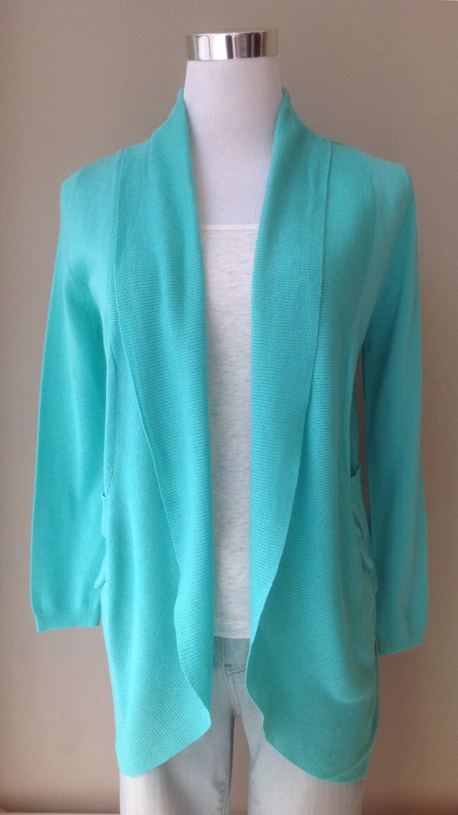 Fine knit cotton/acrylic cocoon cardigan in turquoise, $28