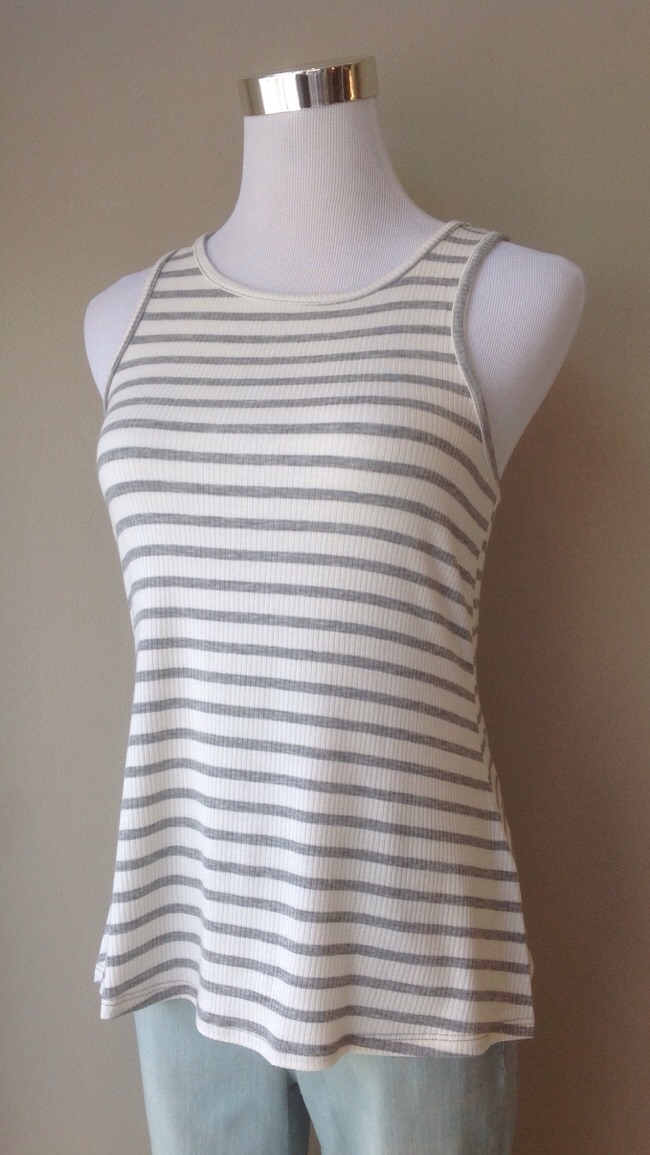 Stripe rib knit tank in Ivory/grey, $20