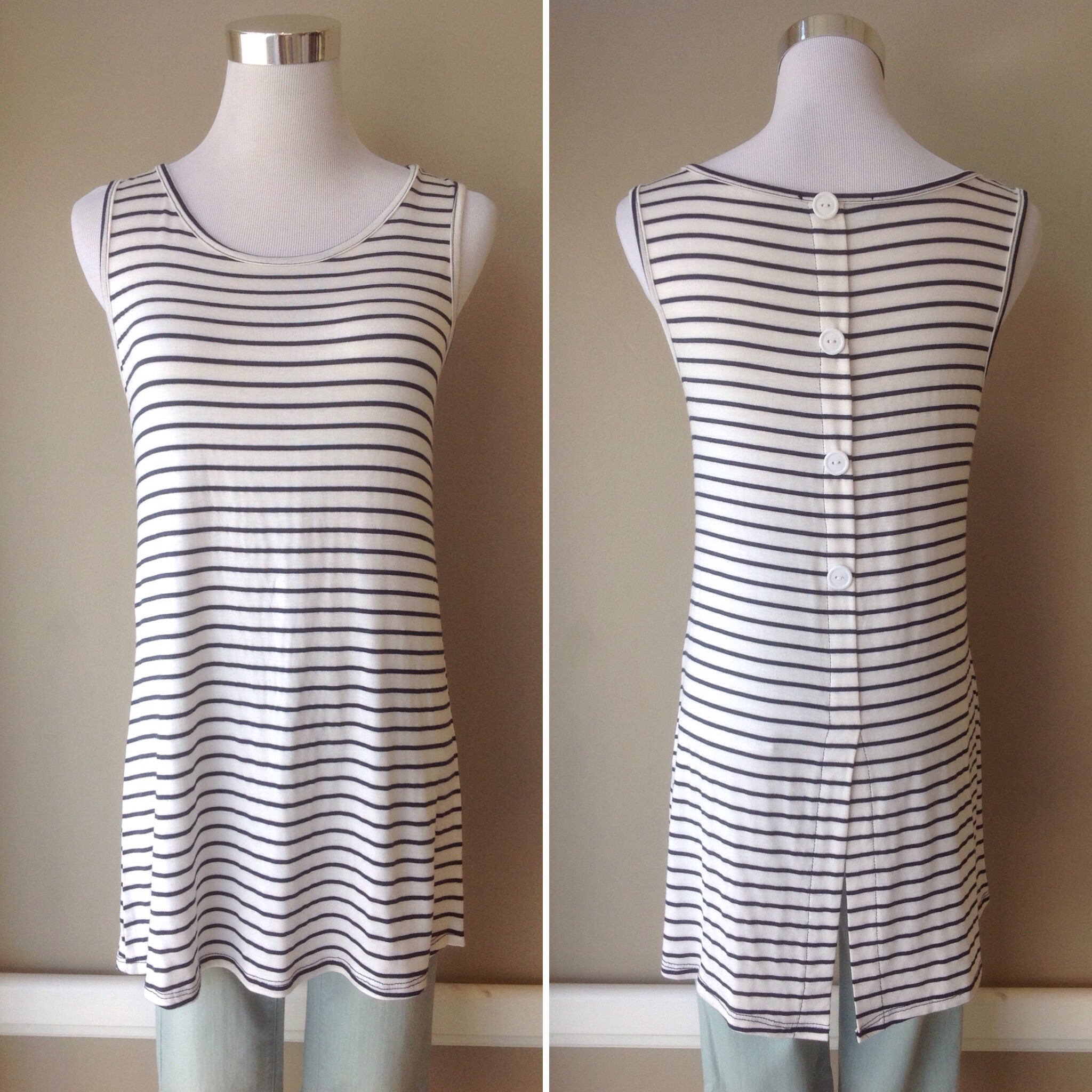 Long off-white and navy stripe tank with back button detail, $28