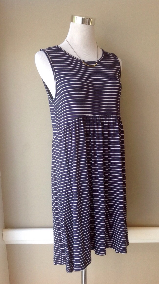 Striped babydoll knit dress in navy/white, $34