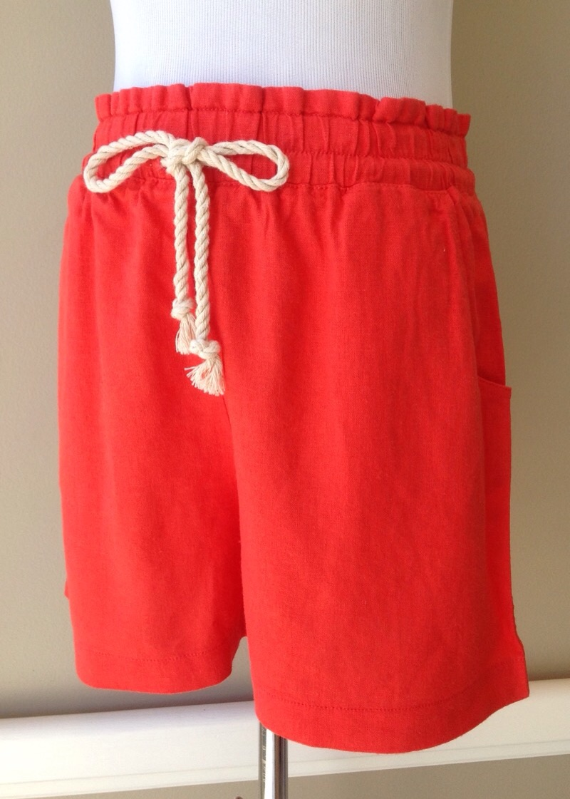 Linen blend pull-on short with waist tie and side pockets, $32