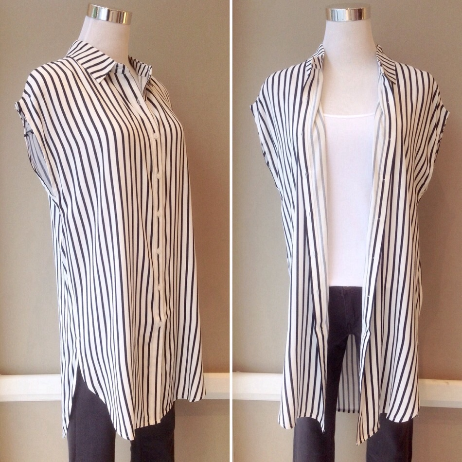 Sleeveless striped button-down dress in white/navy, $38