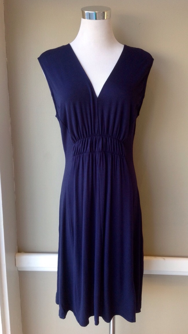 Sleeveless knit dress with ruched bodice in navy, $38