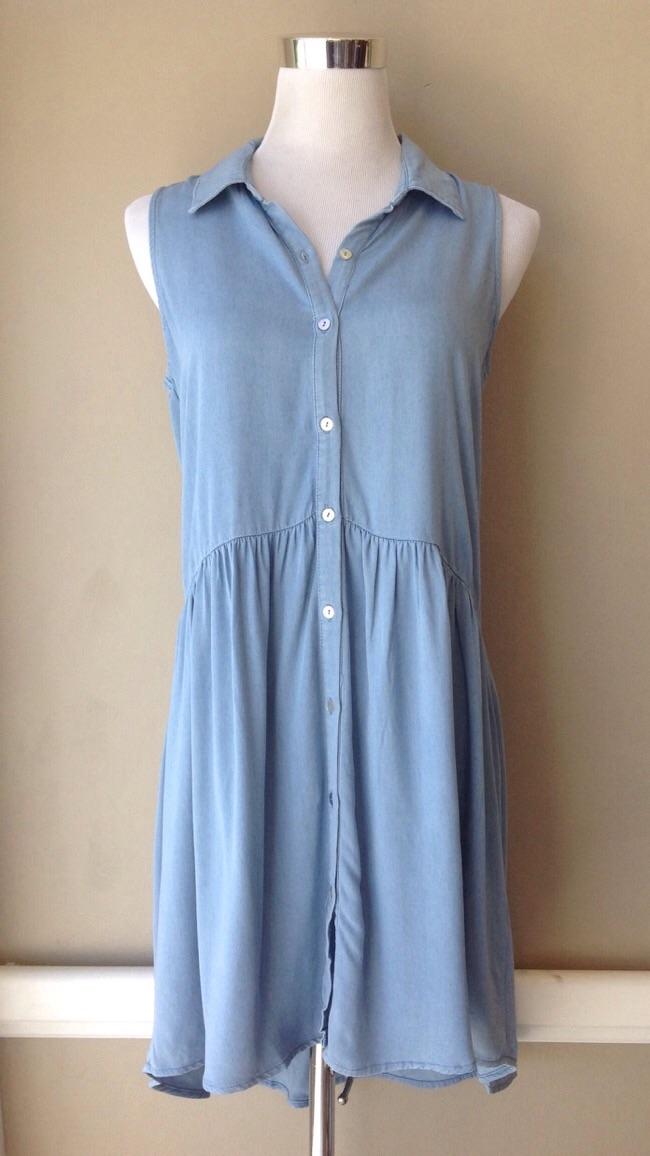 Sleeveless chambray shirt dress with gathered waist, $35