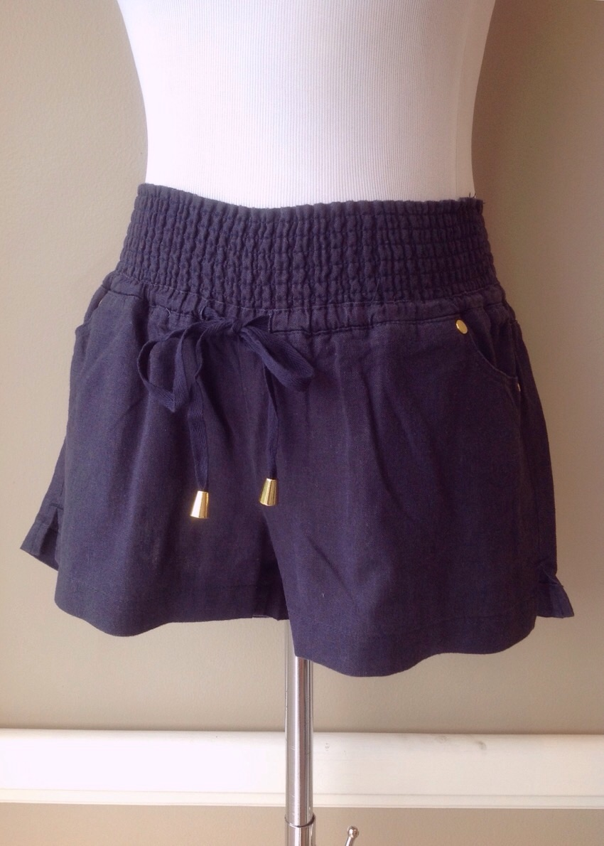 Navy linen/rayon shorts with smocked waist and drawstring tie,  $34