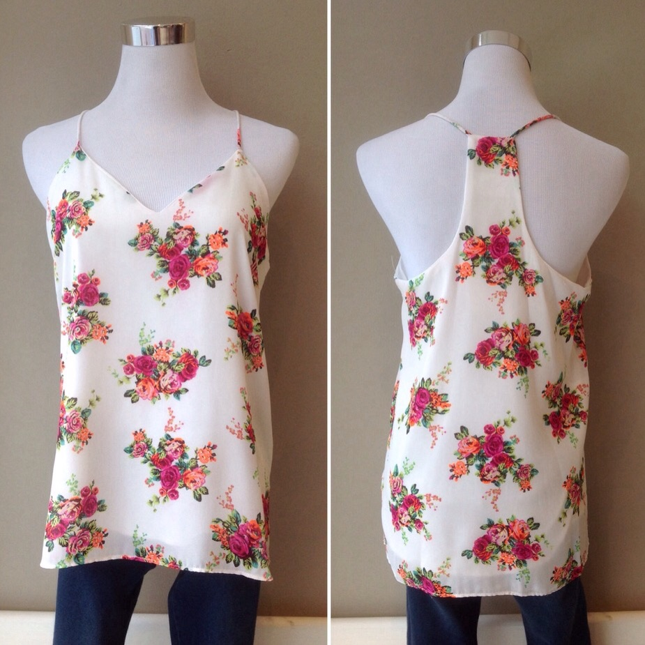 Off-white floral print cami, $32