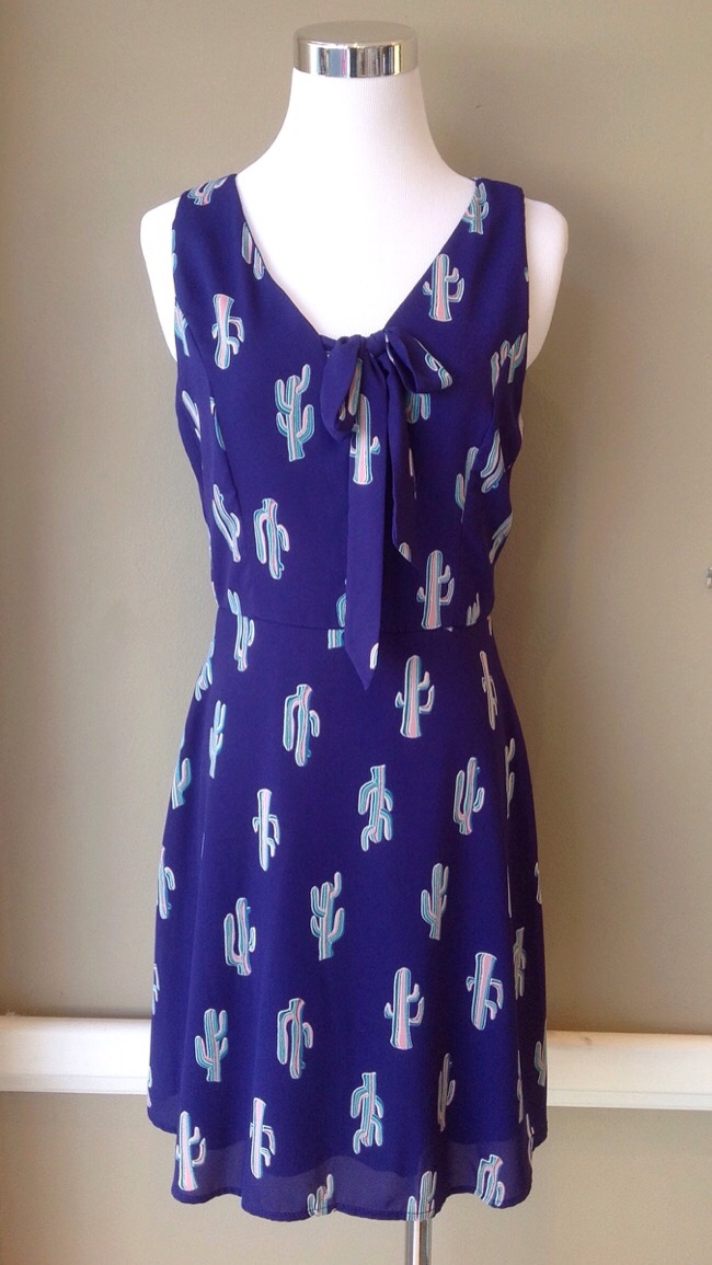 Navy cactus dress with front tie, $48