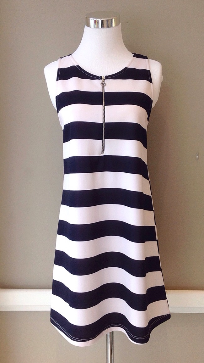 A-line navy and white tank dress with front zipper, $42