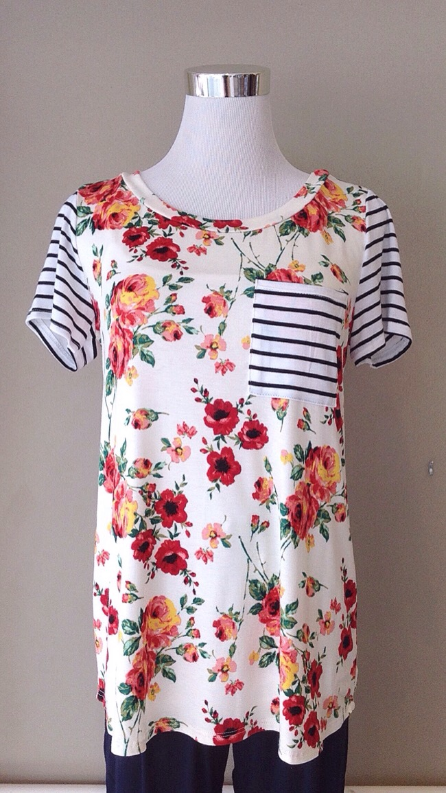 Contrasting floral and stripe knit tee, $32