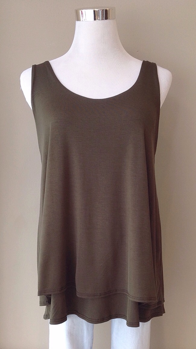 Double layer swing tank in olive, $32