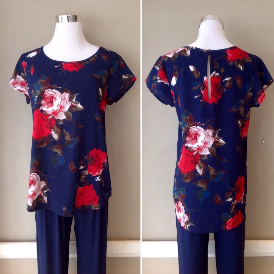 Woven floral print top in navy/multi, $32