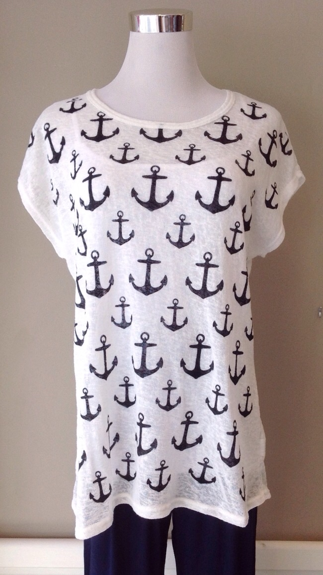 Ivory burnout short sleeve tee with anchor print, $30