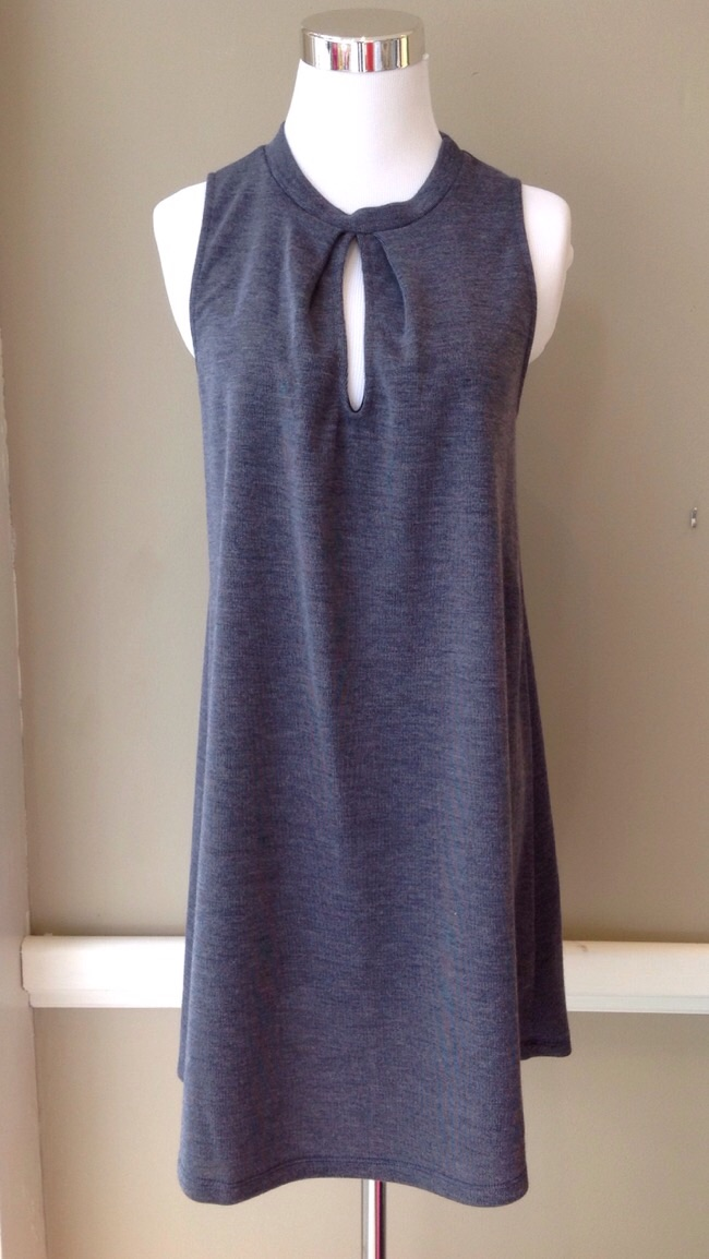 Knit mock neck dress with front keyhole, $38. Available in slate and olive.