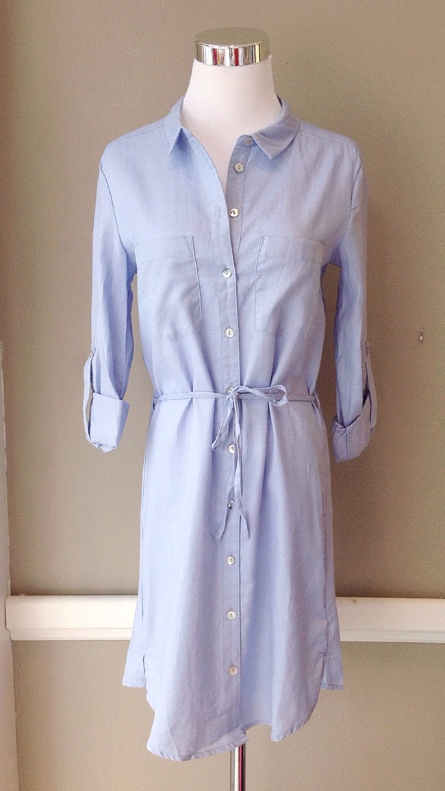 Cotton shirt dress with self tie, $42