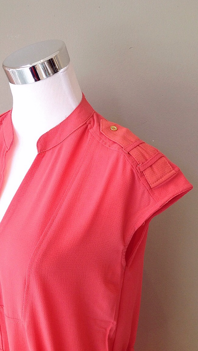 Coral shift dress with drawstring waist and side pockets, $35